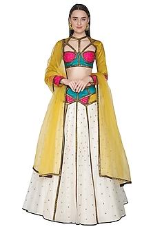 Ivory Embroidered Lehenga Set With Multi Colored Blouse by Priyal Prakash