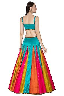 Multi Colored Embroidered Mashru Lehenga set by Priyal Prakash