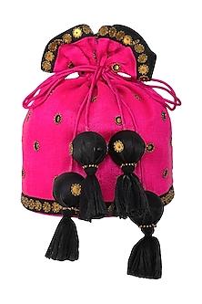 Pink Aari Embroidered Potli Bag by Priyal Prakash