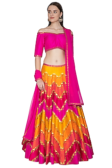 Multi Colored Lehenga Set With Embroidery by Priyal Prakash-Shop By Style