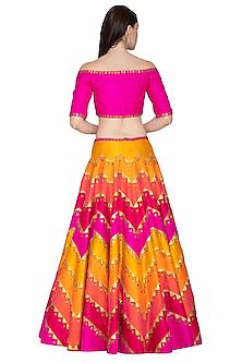 Multi Colored Lehenga Set With Embroidery by Priyal Prakash