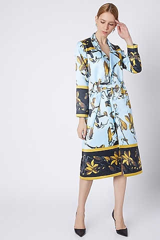 Sky Blue Collared Trench Dress by Prints By Radhika
