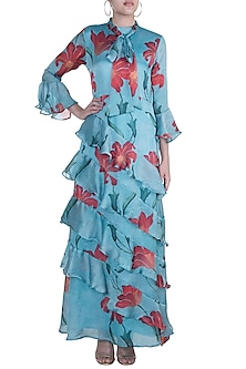 Blue Printed Layered Ruffle Dress by Prints By Radhika