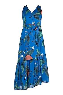Blue Printed Asymmetric Tiered Dress by Prints By Radhika