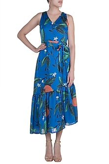 Blue Printed Asymmetric Tiered Dress by Prints By Radhika