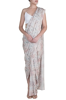 Off White Printed Pre-Draped Skirt Saree by Prints By Radhika
