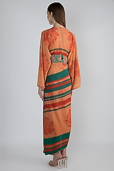 Coral Embroidered Draped Dress by Prints By Radhika