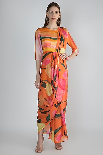 Tangerine Pre-Stitched Printed Saree by Prints By Radhika