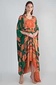 Peach Draped Dress With Kimono by Prints By Radhika