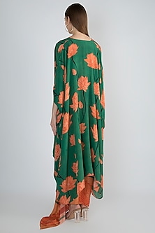 Peach Draped Dress With Kimono by Prints By Radhika