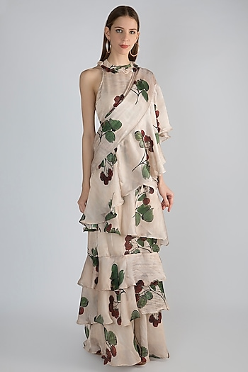 Off White Pre-Stitched Ruffled Saree Dress by Prints By Radhika