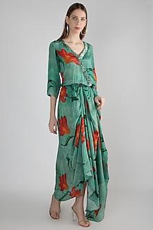 Green Embellished Draped Dress by Prints By Radhika