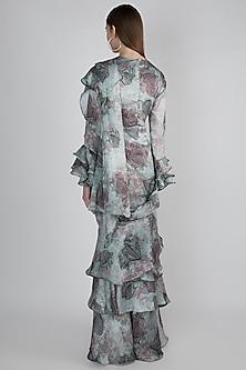 Grey Pre-Stitched Ruffled Saree Dress by Prints By Radhika