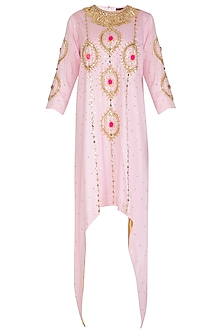 Baby Pink Embroidered Asymmetrical Kurta by Param Sahib
