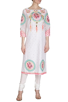 White Floral Embroidered Tunic by Param Sahib