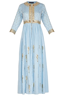 Ice Blue Hand Embroidered Tunic by Param Sahib