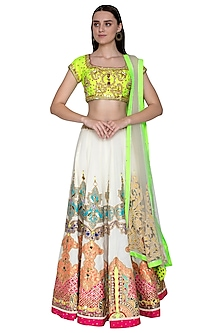 White & Neon Green Embroidered Lehenga Set by Param Sahib-Shop By Style