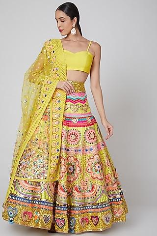 Yellow Embroidered Lehenga Set by Param Sahib