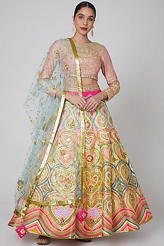 Blush Pink Embroidered Lehenga Set by Param Sahib