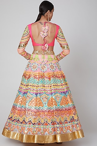 Fuchsia Sequins Embroidered Lehenga Set by Param Sahib