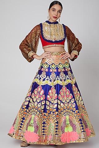 Cobalt Blue Embroidered Lehenga Set by Param Sahib