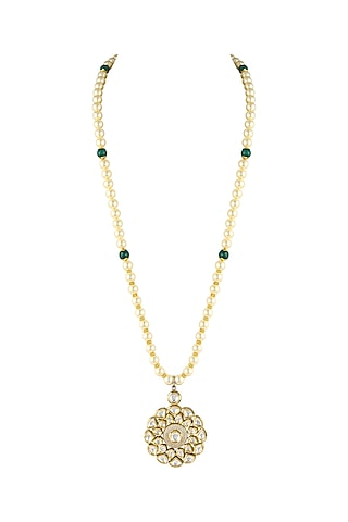 Gold Finish Pearl Necklace by Parure
