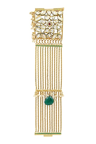 Gold Finish Pearls & Mirror Bracelet by Parure