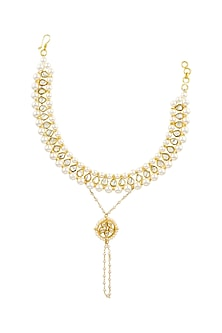 Gold Finish Pearl Anklets by Parure