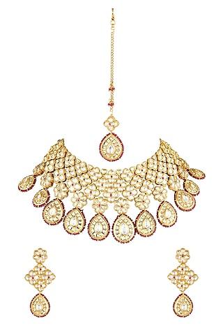 Gold Finish Jadau Kundan Necklace Set by Parure