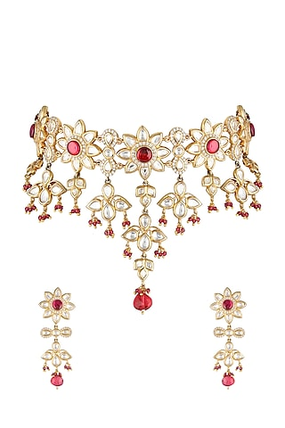 Gold Finish Handcrafted Zircon Necklace Set by Parure