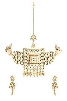 Gold Finish Choker Necklace Set by Parure