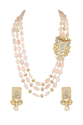 Gold Finish Floral Necklace Set by Parure