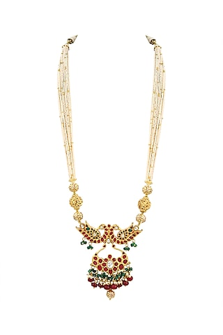 Gold Finish Peacock Necklace by Parure