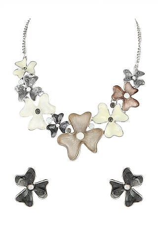White Finish Crystal Necklace Set by Parure