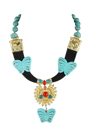 Gold Finish Turquoise Stone Necklace by Parure