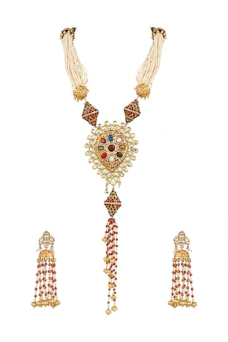 Gold Finish Glass & Pearl Necklace Set by Parure