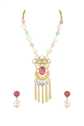 Gold Finish Chain Tassel Necklace Set by Parure