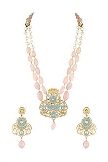 Gold Finish Floral Kundan Necklace Set by Parure