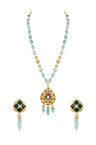 Gold Finish Beaded Necklace Set by Parure