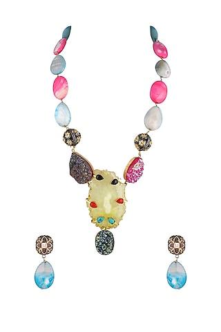 Gold Finish Pendant Chain Necklace Set by Parure