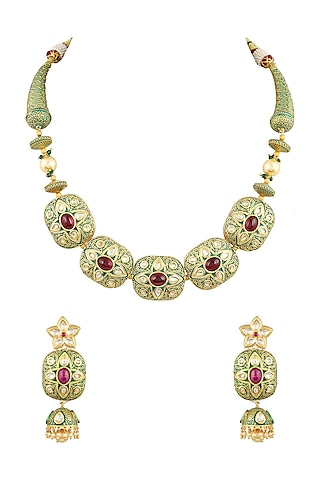 Gold Finish Meenakari Choker Necklace Set by Parure