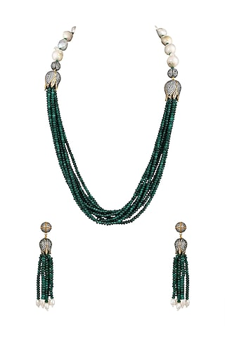 White Finish Lotus Motif Necklace Set by Parure