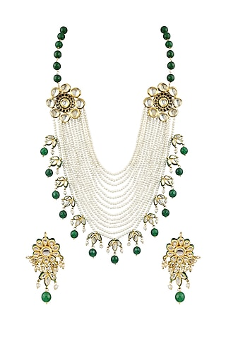 Gold Finish Pearl Floral Necklace Set by Parure