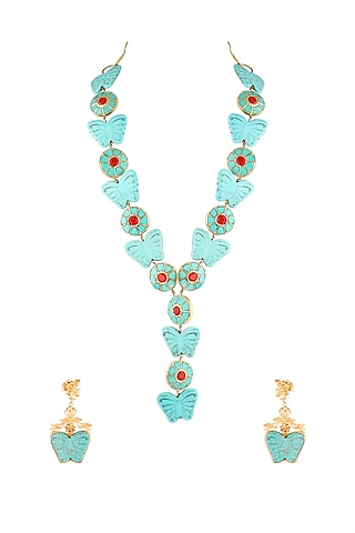 Gold Finish Butterfly Necklace Set by Parure