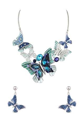 White Finish Crystal Butterfly Necklace Set by Parure