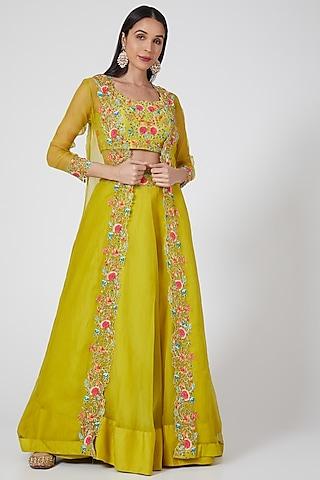 Mehendi Green Embroidered Lehenga Set by Priyanka Jain