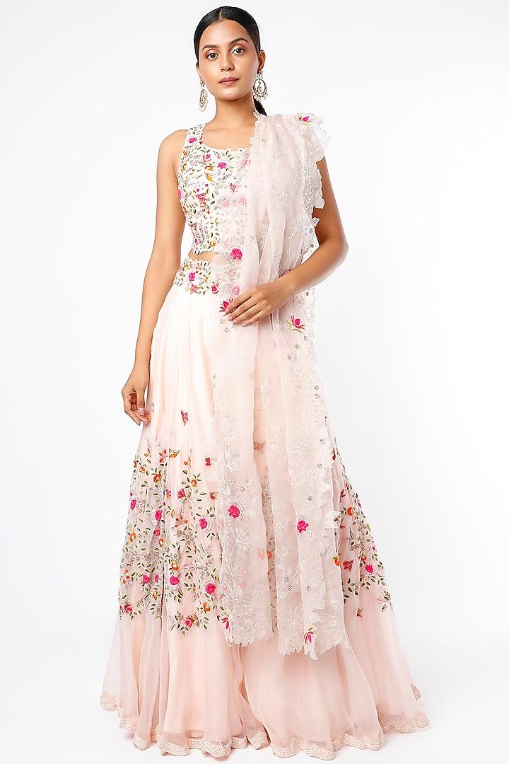 Pink Embroidered Lehenga Set by Priyanka Jain