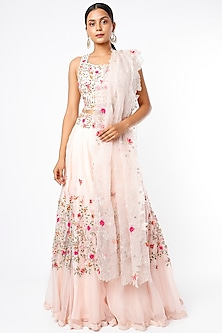 Pink Embroidered Lehenga Set by Priyanka Jain-POPULAR PRODUCTS AT STORE
