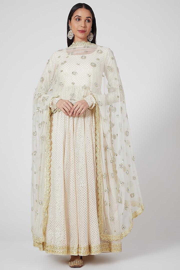 Off White Embroidered Anarkali Set by Priyanka Jain