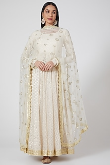 Off White Embroidered Anarkali Set by Priyanka Jain-POPULAR PRODUCTS AT STORE